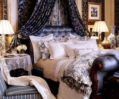 Blue and white luxury bedroom - Ralph Lauren Home