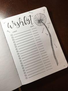 Wish list #bulletjournaling