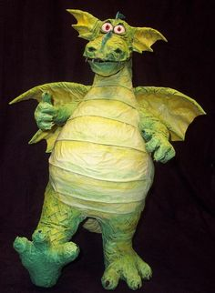 "Paper  mache dragon ""Little William"" from ""William's Treasure."" From gourmetpapermache.com."
