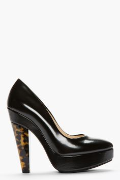 Stella McCartney Black Patent Tortoise Shell Dana Bio Pumps for women | SSENSE $616.00 sale