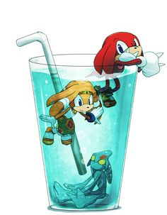 Tikal the Echidna, Knuckles the Echidna, and Chaos the Water God