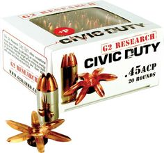 G2 Research Civic-DutyGuns Magazine.com   G2 Research debuts the .45 ACP+P Civic Duty round. It's designed to penetrate 6 to 8 inches in ballistic gel, while the round's design prevents it from passing through the target. It will expand 1.5 inches, with copper petals opening up to create a large wound channel. The 164-grain bullet achieves a velocity of 1,020 from a 5-inch 1911.