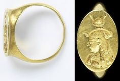 Gold ring with a bezel engraved with a head of Isis, Egypt, Ptolemaic, 330-30 BC.