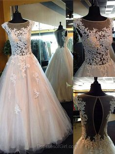 Ball Gown Prom Dress, Tulle Prom Dresses, Long Evening Gowns, White Party Dresses, Open Back Formal Dresses