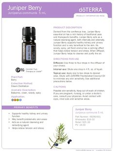 doTERRA's Juniper Berry essential oil is 10% off for the month of September! Buy oils at: www.mydoterra.com/kimberlycurry