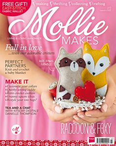 Mollie Makes issue 23 templates -fox pattern Book Crafts, Felt Crafts, Diy Crafts, Craft Books, Sewing Caddy, Fabric Wallet, Mollie Makes, Crochet Leaves, Crochet Cushions