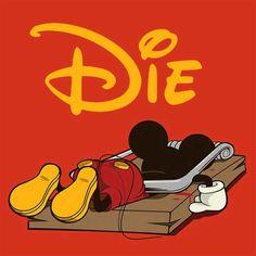 Oh Mickey - Unknown graphic designer. Humour Disney, Funny Disney, Mundo Dos Games, Dark Disney, Twisted Disney, Bd Comics, Cultura Pop, Art Design, Graphic Design