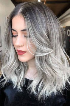 Grey & Silver Waves ❤ Discover all the fifty shades of silver ombre hair. Get in touch with the recent trend of beauty world and become a part of it. Hair Color Balayage, Blonde Balayage, Ash Blonde, Thin Hair Haircuts, Cool Hairstyles, Hairstyle Ideas, Hawaii Hairstyle, Silver Ombre Hair, Gray Hair