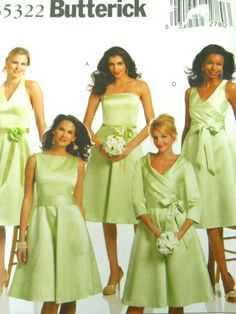 Butterick Sewing Pattern B5322 Size 8-14 5 Bridesmaids Dresses Plus Sash Uncut #Butterick