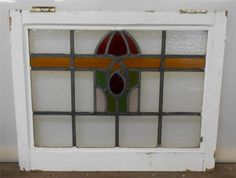 "MID SIZED OLD ENGLISH LEADED STAINED GLASS WINDOW Abstract design 23"" x 18.25"""
