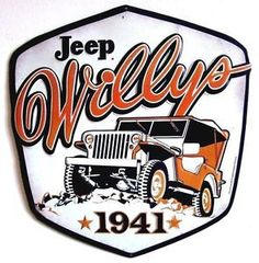 """Retro Style Collectible Embossed Metal Sign """"JEEP WILLYS 1941"""" Gas/Oil/Auto - JeepHut"""
