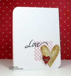 one small background stamp, 2 hearts, fiber, staple and a sentiment.