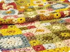 Crocheted Granny Square Afghan for our Queen Bed
