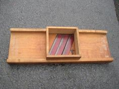 Antique Fabulous Wooden Cabbage Slicer with Old Red Paint Blades