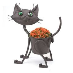 "Little Kitty - Cat indoor or outdoors (garden) décor plant stands. Holds 4"" pots - 11.5"" inches tall by Georgetown Home and Garden. $27.95. Rustic Brown Metal. 11.5"" High. Holds a 4"" flower pot. requires no tools for assembly. A cute metal planter for indoor or outdoor use.  Holds a 4"" growers pot."