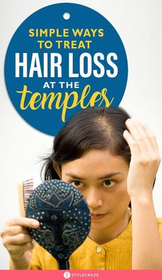 [ Hair Care : 8 Simple Ways To Treat Hair Loss At The Temples: Temple hair loss in females is common and dealing with it can be quite hard, but Best Hair Loss Shampoo, Biotin For Hair Loss, Oil For Hair Loss, Biotin Hair, Hair Shampoo, What Causes Hair Loss, Prevent Hair Loss, Temple Hair Loss, Baby Hair Loss