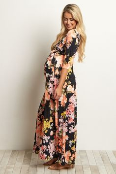 Black Floral Sash Tie Dress: How to Dress when Pregnant. You can still look stylish and feel good when dressing. Maternity Nursing Dress, Maternity Wear, Maternity Fashion, Maternity Clothing, Maternity Style, Maternity Pics, Modest Clothing, Clothing Stores, Kids Clothing