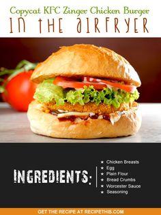 Copycat Recipes | Copycat KFC Zinger Chicken Burger In The Airfryer
