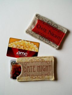 Date night gift card holders, you could do this for theater tickets as well!  - printable available from @Bev McCullough {Flamingo Toes}