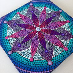 Original Purple Flower Mandala Painting on by CreateAndCherish