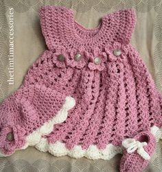 Handmade crocheted frock, cap and booties.  https://www.etsy.com/shop/CrochetAllHeadtoToe?page=1 https://www.facebook.com/pages/thetimtimaccessories/577535355685522?ref=bookmarks