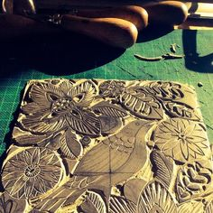 "Lino block carving for ""the Garden"" print. #linocut #linoprint #printmaking #prints#blockprint #carving #garden#bird#crafts #ink"
