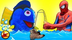 Finding Dory & Spiderman in Real Life - Spider-man is Fishing to Find Do...