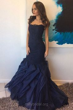 Dark Navy Prom Dresses Long, Elegant Formal Dresses Mermaid, Strapless Party Dresses Lace, Women Evening Gowns Organza Sweep Train Appliques #ElegantPartyGowns