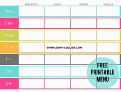 Free Printable Weekly Meal Plan Template   Best Meal planning ...