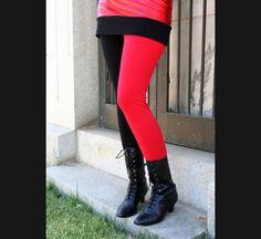 Cotton Red and Black Harley Quinn Leggings XS S M L XL 2XL 3XL Black Lace Trim plus size punk goth vinyl stretch pants Halloween cosplay