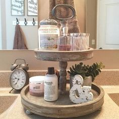 Easy Ways To Love Your Home; Farmhouse Bathroom Decor Ideas As far as home-improvement projects go, it's not the scale of the changes that you make. Bathroom Organization, Bathroom Storage, Bathroom Counter Decor, Farmhouse Decor Bathroom, Bath Decor, Storage Organization, Bathroom Mirrors, Farm House Bathroom Decor, Decorating A Bathroom