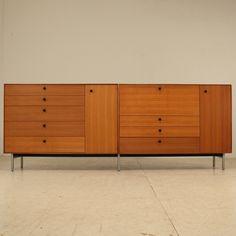 George Nelson; Custom Walnut and Metal 'Thin Line' Cabinets/Secretary, 1950s.