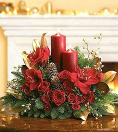 Christmas Centerpieces and Table Arrangements. Send flowers and gifts from our Christmas Centerpieces section using local florists and bakeries and with our low service fee. Christmas Flower Arrangements, Christmas Table Centerpieces, Christmas Flowers, Christmas Candles, Xmas Decorations, Christmas Home, Christmas Holidays, Christmas Wreaths, Christmas Crafts