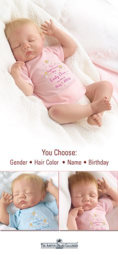 This So Truly Real baby doll by Master Doll Artist Bonnie Chyle is completely customizable! Choose the gender, hair color, name and birthday of this sleeping sweetheart to make them truly your own! Handcrafted of RealTouch vinyl with hand-painted features. 100% satisfaction guaranteed with free return shipping up to 365 days. Shop Now!
