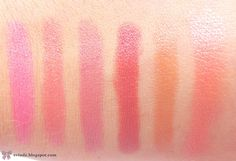 Rimmel Lasting Finish Lipstick swatches - Pink Blush - Vintage - Airy Fairy - Asia - Birthday Suit - Nude Pink