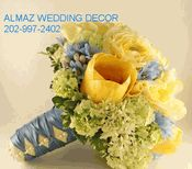 yellow and blue bridal bouquet idea