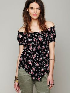 Free People Carrie Off Shoulder Tee http://www.freepeople.com/whats-new/carrie-off-shoulder-tee/