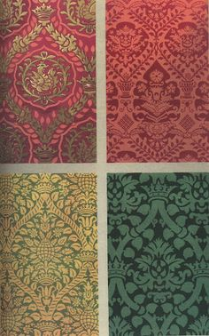 Florentine silk damask fabrics  1500-1600:  Florence was a design center in the 17th century, famous fir it's elaborate, richly colored silks.