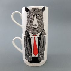 Jimbob Art Mr Bear Stackable Tea Mugs (€55) ❤ liked on Polyvore featuring home, kitchen & dining, drinkware, stacking mugs, tea mug and bear mug