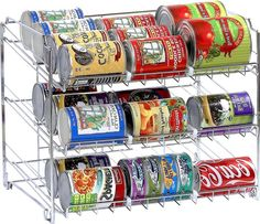 Create extra space in your pantry with a rack that organizes your canned food.