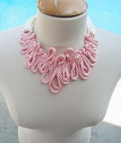 Rope and ribbon necklace