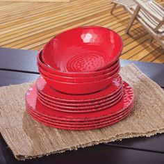 *Melamine Dinnerware 12PC Set (Red) Melamine http://www.amazon.com/dp/B00JGUYQR8/ref=cm_sw_r_pi_dp_yvdyub097PGW5