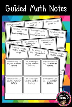 Save post-it notes by using these Guided Math Focus Notes For Number. The cards can be printed onto coloured paper. After working with students, write down their target number/goal on the card and have them take it home. This will inform parents of what target their child is working on in class. I have used this strategy in my classroom and have found that by taking the cards home, students are more likely to work on the target with their parents. © Tales From Miss D