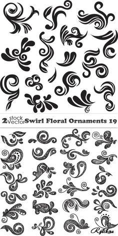 Растительные узоры, завитки - векторный клипарт. Floral Ornaments Cotton Saree Designs, Western Show Shirts, Flame Tattoos, Bridal Nail Art, Hand Lettering Alphabet, Curve Design, Wood Burning Patterns, Art Template, Hand Art