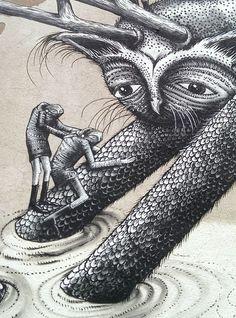 Street artist Phlegm created this giant painting from a simple sketch Sheffield Art, Birmingham Uk, Street Artists, Public Art, Graffiti Art, Writings, Urban Art, Murals, Illustration