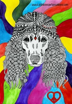 "Whimsical Zentangle® Inspired Poodle named ""Ruby"". Completed October 18, 2014. A 12-pack of note cards are available for $23.00 with FREE shipping and handling. Prints, plates, mugs, mousepads, doggie tanks, coasters, checkbook covers, throw pillows  etc., also available."