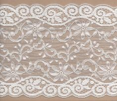 White Stretch Lace Trimming 5mts 15.5cm Wide