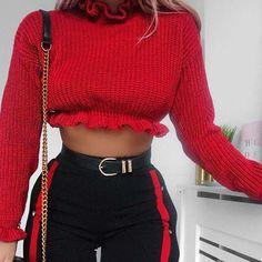 f6a4ab9b62b Knitted Ruffle Long Sleeve Crop Top
