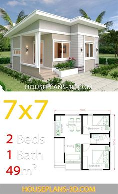 Small House Layout, Small Modern House Plans, Modern Small House Design, Beautiful House Plans, House Layout Plans, Simple House Design, House Layouts, Small House Floor Plans, 2 Bedroom House Design