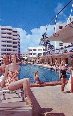 "oldflorida: "" Florida fresh at the Shore Club. Let's go! "" Shore Club, 1950s"